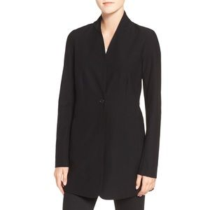 Eileen Fisher Stretch Crepe Stand Collar Jacket